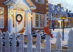 A pair of cardinals lend warm holiday cheer to Darrel Bush's Christmas print Winter's Song. Fortunately for those of us who love these splendid red birds with the distinctive cheerful whistle, cardina