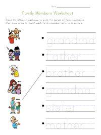Family Worksheets for Kids
