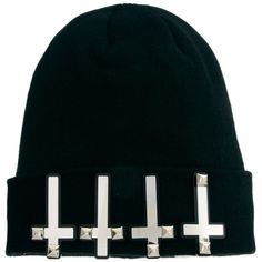 Funky Bling Crosses Beanie Hat ($102) ❤ liked on Polyvore
