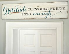 """Gratitude"" Wood Sign {customizable} - Aimee Weaver Designs (www.aimeeweaverdesigns.com) customized to say ""God bless this home and all who enter"" in brown tones with white background."