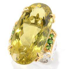 146-812- Gems en Vogue 31.28ctw Ouro Verde & Chrome Diopside Elongated Ring