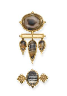 TWO AGATE BROOCHES, BY CASTELLANI   The first with central oval banded agate panel to the rectangular-shaped gold bar with ropework detail, suspending three graduated agate drops, circa 1860, 7.3 cm. high; the second with central Etruscan agate scarab to the gold brooch flanked by circular flowerhead panels, circa 1860, 4.3 cm. wide  Both with addorsed Cs maker's mark for Castellani