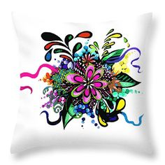 "Flower doodle Throw Pillow 14"" x 14"" by Pamela Cawood"