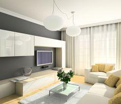 Curtains - 3D render modern interior of living-room