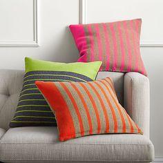 "division red orange 20"" pillow  | CB2"