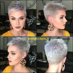 Weiße kurze Frisuren - New Site Penteados curtos brancos - - Frisuren Short Grey Hair, Short Hair Cuts For Women, Short Hairstyles For Women, Short Pixie Haircuts, Pixie Hairstyles, Trendy Hairstyles, Prom Hairstyles, Ladies Hairstyles, Workout Hairstyles