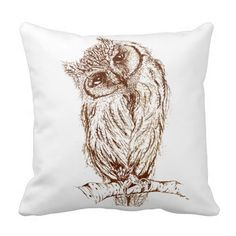 Scops owl by Inkspot Throw Pillows