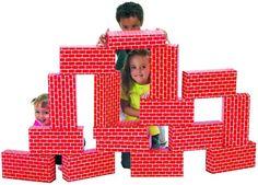 ImagiBRICKs Cardboard Building Blocks, Giant Building Blocks, Cardboard Play, Building For Kids, Building Toys, Brick Building, Blocks For Toddlers, Kids Blocks, Blog Da Tia Ale