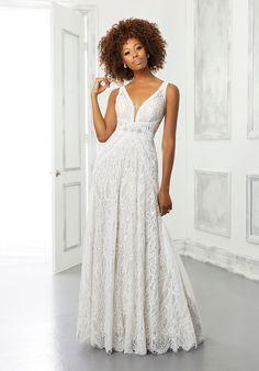 A-line lace wedding dress with sleeveless bodice and v-neck neckline. Mori Lee Wedding Dress, Bridal Wedding Dresses, Wedding Dress Styles, Designer Wedding Dresses, Boho Wedding, Wedding Ideas, 1920s Wedding, Wedding Shit, Wedding Vintage