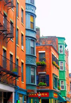 Little Italy, Boston, Massachusetts ~ Love those colors esp the orange and blue ♥
