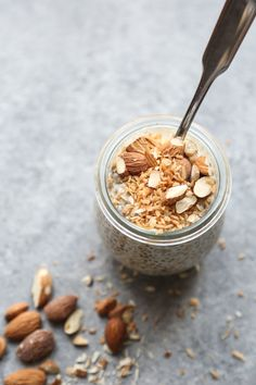 This chia pudding recipe has all the flavor of toasted almond coconut crunch. It's made even healthier with maca! Dairy-free and low sugar.