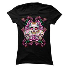 sugar skull T Shirts, Hoodies. Check price ==► https://www.sunfrog.com/LifeStyle/sugar-skull-shirt-56631728-Ladies.html?41382