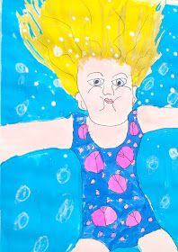david hockney art projects for kids - swimming portrait Spring Art, Summer Art, David Hockney Art, Self Portrait Art, 2nd Grade Art, Art Lessons Elementary, Art Lesson Plans, Art Classroom, Art Plastique