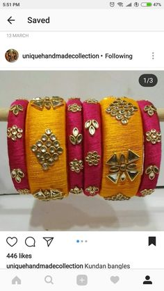 Silk Thread Bangles Design, Silk Thread Earrings, Thread Jewellery, Paper Jewelry, Trendy Jewelry, Diy Jewelry, Beaded Jewelry, Jewelery, Handmade Jewelry
