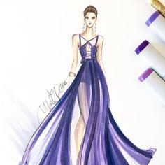 Alberta Ferretti gown, sketch by Holly Nichols.