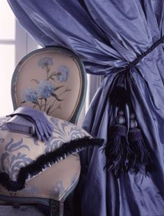 Periwinkle/purple/blue curtains with tassels, boudoir chair, ladies gloves/purse and decorative pillow with fringe. Periwinkle Blue, Love Blue, Shades Of Purple, Blue And White, Glamorous Chic Life, Deco Originale, All Things Purple, Drapes Curtains, Silk Drapes