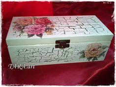 Tea box, wooden tea box, decoupage, tea storage, tea bag holder, decorative tea…