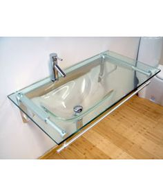 Modern Glass Vanity with Formed Glass Sink