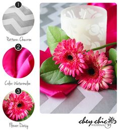 Juicy watermelon with sliver Chevron-- hot color combo for summer wedding from Chey Chic Weddings