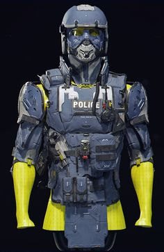 ArtStation - Police Vest Blue - Repost with Crops, Mike Andrew Nash Futuristic Helmet, Futuristic Armour, Futuristic City, Armadura Steampunk, Military Vest, Military Police, Warrior Within, Police Gear, Starship Concept