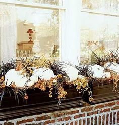 Beautiful Planter Boxes white pumpkins and bittersweet