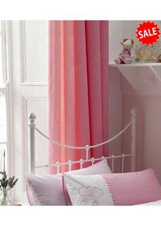 Pink Polkadot, Girls Lined Curtains 72s - http://www.childrens-rooms.co.uk/pink-polkadot-girls-lined-curtains-72s.html #pinkpolkadot #girlscurtains #bedroomcurtains
