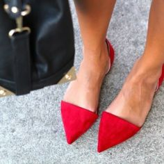 Zara Red Flat Suede Pointed Vamp Shoes with Heel Back Size 38 | eBay