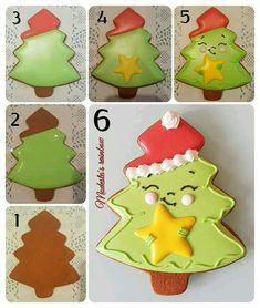 Christmas Deserts, Christmas Tree Cookies, Iced Cookies, Christmas Cupcakes, Cute Cookies, Noel Christmas, Christmas Goodies, Cookies Et Biscuits, Holiday Cookies