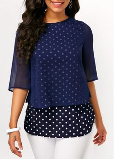 Mesh Overlay Polka Dot Navy Blouse on sale only US$30.03 now, buy cheap Mesh Overlay Polka Dot Navy Blouse at Rosewe.com