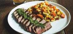 The inspiration for this dish comes from my wife, Gail. She loves Sriracha and sweet potatoes. I love steak served with chimichurri, so this dish is one that we