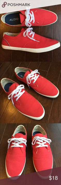 ALDO Men's Casual Light Lace-up Shoes in Red Excellent condition - men's lightweight ALDO white lace up shoes with a red upper woven cotton t-shirt material.  Inside has an anvil pattern.  These shoes are super comfortable and will match with many casual outfits and will deserve many compliments. Color: Red. Size: 9. Aldo Shoes Sneakers