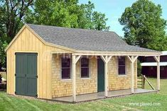 Amazing Shed Plans - x Building Cottage Shed With Porch Plans - Now You Can Build ANY Shed In A Weekend Even If You've Zero Woodworking Experience! Start building amazing sheds the easier way with a collection of shed plans! Backyard Sheds, Outdoor Sheds, Outdoor Art, Home Design, Design Ideas, Cottage Garden Sheds, Porch Garden, Diy Garden, Garden Ideas