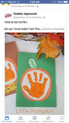 """Little Pumpkin"""" Handprint Card for Kids to Make """"Little Pumpkin"""" Handprint Fall Cards - Keepsake idea! """"Little Pumpkin"""" Handprint Fall Cards - Keepsake idea! Kids Crafts, Easy Fall Crafts, Daycare Crafts, Fall Crafts For Kids, Baby Crafts, Holiday Crafts, Fall Crafts For Preschoolers, Pumpkin Crafts Kids, Fall Crafts For Toddlers"""