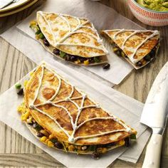"""Confetti Corn Quesadillas Recipe- Recipes """"This easy and convenient meal is easily changed to fit any family's picky eaters. You can even sneak in protein, dairy and veggies and the kids will never know this is relatively good for them. I try to keep a batch in the fridge for a quick and hearty lunch."""" Carey Hunt, Portland, Oregon"""
