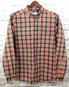 Columbia Sportswear Mens Large Orange Gray Plaid Shirt Button Front 100% Cotton #Columbia #ButtonFront