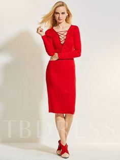 d904dfde05 Christmas Deep V-Neck Plain Women s Bodycon Dress Christmas Sale