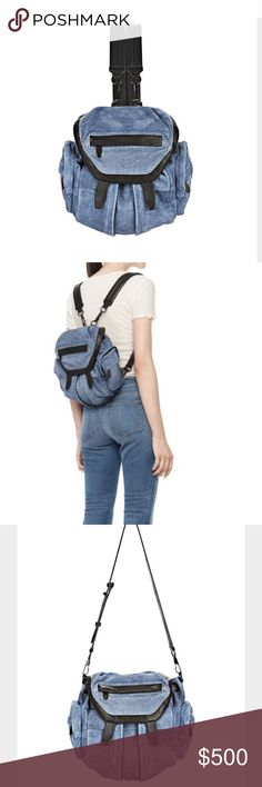 Alexander Wang Mini Marti Backpack in denim suede Really love love love this bag. Considering selling for the right price since I really want the black and silver marti. Would also trade for the black leather mini Marti. This is brand new I've only used it 2 times and kept it in the dustbag ❤️ Alexander Wang Bags Backpacks