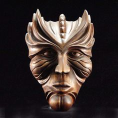 """""""Aquaman"""" -- wood-carved mask by Chris Booras."""