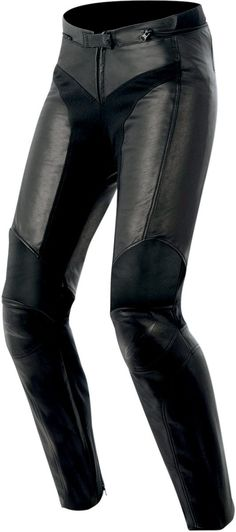Alpinestars Stella Vika Women's Leather Motorcycle Pants are body contouring, ultra-comfortable protective riding pants inspired by the fashion runway trends of the top design houses and engineered to meet a woman's needs for the bike and beyond.