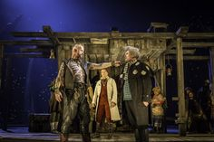 Aidan Kelly (Bill Bones), Helena Lymbery (Dr. Livesey) and Nick Fletcher (Squire Trelawney) in Treasure Island at the National Theatre, London. Photo by Johan Persson