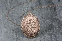 Large Rose Gold Locket Long Rose Gold Necklace Oval by FreshyFig