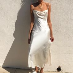 Stunning silk vintage ivory slip dress with draped collar and open back Fit Dress Outfits, Casual Dresses, Dress Up, Fashion Outfits, Formal Dresses, Silk Formal Dress, Dress Shoes, Shoes Heels, Slip Wedding Dress