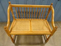 shopgoodwill.com: Oak Bench with Woven Wicker Seat  Pick up ONLY....but I like it!