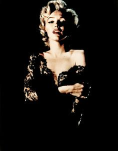 Marilyn Monroe in a black lace dress