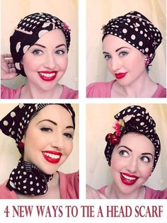 """Following on from my previous tutorial on """"How to tie a headscarf Retro Style"""", this time I have 4 NEW ways to tie a headscarf! With our Melbourne Sumer currently hitting temperatures of 41 degrees Celsius, this heat inspired me to create some new looks that keep your hair totally out of the way. I've…"""