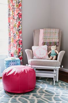 Liliah's pop of colour nursery  Easy to swap colours if next baby is a boy