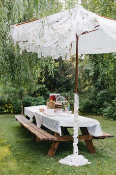 Strips of vintage fabric attached to an old umbrella frame!! Love Love Love it! For a birthday party or in 'my' garden !! Now this is HippieLicious! Hippie Hugs with love, Chele  Go to link and see the party unfold!