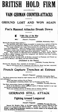 "WW1, Western Front. 20 July 1916, The Sun ( Sydney) . ""Heavy Fighting at Longueval and Delville Wood is still going on."""
