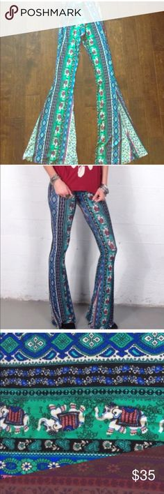 """Gypsum Print Stretchy Flare Pants Made by Gypsan in USA from dead stock fabric. Sold out everywhere and limited edition. Stretchy Fabric. Elastic Waist. Inseam: 38"""" Waist: 24"""" unstretched. Great for tall girls! Never been worn, only tried on and they were too long for me! These are honestly such high end material and so comfortable Gypsan Pants Boot Cut & Flare"""