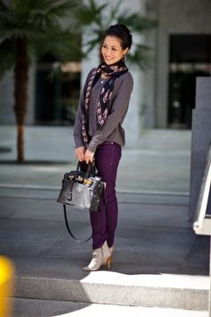 :: Outfit ::  Top :: Splendid Bottom :: Blank Jeans Bag :: Marco Tagliaferri (via HGBags) Shoes :: Vintage gray cut-out sandals Accessories :: Alexander McQueen black & rose silk chiffon skull scarf (thanks to Tina Nguyen) & JCrew orange skinny belt